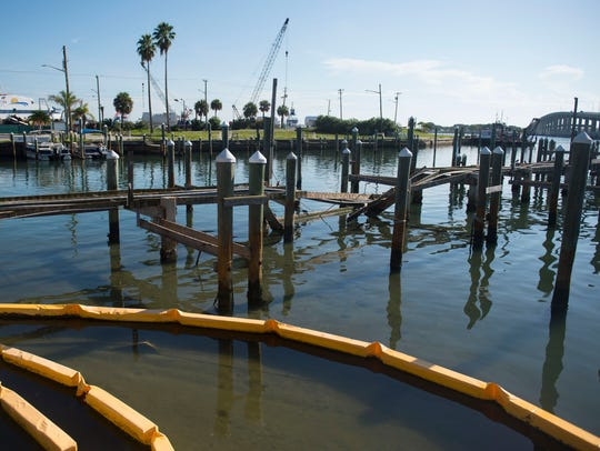 Damage to the now closed docks at Fisherman's Wharf