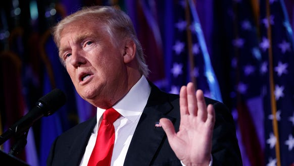 President-elect Donald Trump speaks during an election