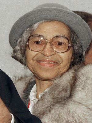 This Oct. 28, 1986, file photo shows Rosa Parks at Ellis Island in New York.
