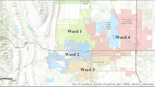 The map above displays the boundaries of the four wards of the Loveland City Council.