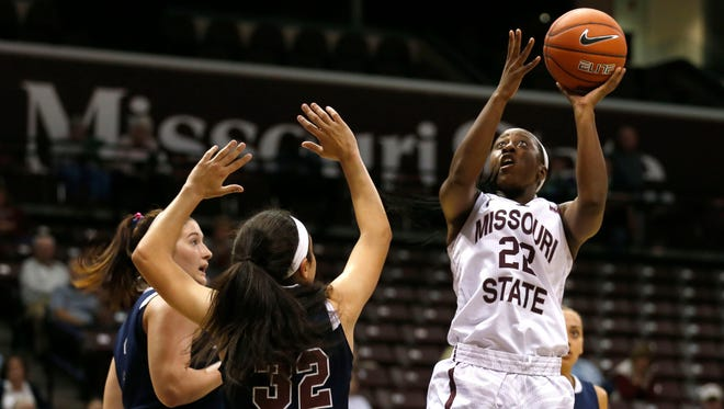Missouri State senior Tyonna Snow goes up for a basket during a game against the Lyon Scots at JQH Arena on Monday, Nov. 2, 2015.