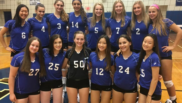The 2017 Big North National Division champion NV/Demarest volleyball team. FRONT ROW, from left: Shaina Ryan, Madison DeMartini, Rachel Suter, Angela Lee, Alicia Iafrate and Christi Sed. BACK ROW, from left: Erin Pah, Bridgit Smith, Ohr Yahalomi, Gianna Arias, Ellen Hamlin, Sedona Gaard, Sydney Woods and Sam O'Donnell.