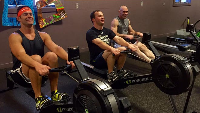 Matt Immel, Don Olson, and Jon Rasmussen row for an hour for MS Run the US. The Annual 24-Hour Challenge Row and Bike-A-Thon, will take place from 7 a.m. Saturday, Jan. 20 to 7 a.m., Sunday, Jan. 21