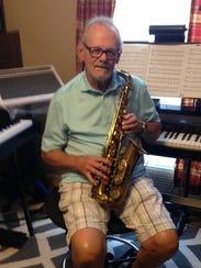 Bob Sweat shows his circa early 1960s saxophone.