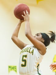 Mardela guard Demyra Selby (5) takes a shot against
