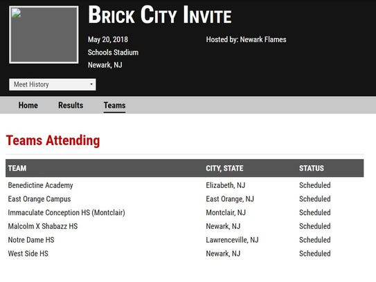 Screenshot of the Brick City Invite, posted on MileSplit