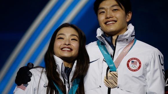 AP PYEONGCHANG OLYMPICS MEDALS CEREMONY FIGURE SKATING S OLY FIG KOR