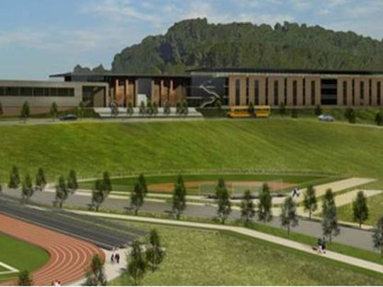 A rendering shows what a high school in Bellevue could look like if Hillwood High School is moved.