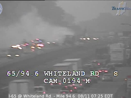 Semi fire shuts down the northbound lanes of Interstate 65 in Johnson County.