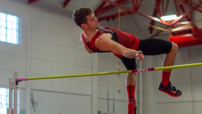 Nate Newman, a Zane Trace graduate, competes in the high jump as a part of the heptathlon competition during the NCAA Division III Indoor Championships in Birmingham, Alabama.