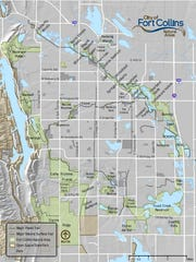 This map shows natural areas managed by Fort Collins within or near city limits.