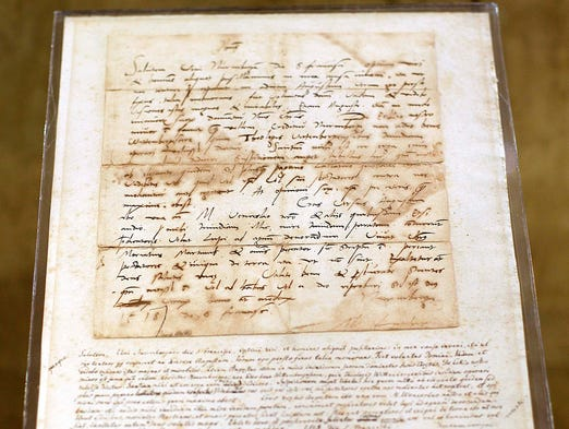 An original letter penned by Martin Luther in 1518 is on display at the Passages exhibition in east Springfield.
