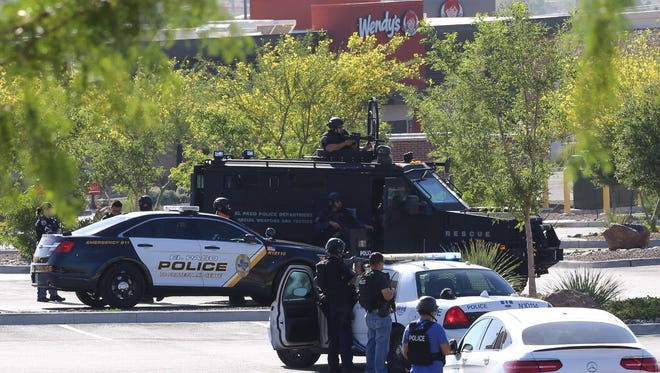 The El Paso Police Department SWAT team tries to get a suicidal man to surrender. The man was sitting in his car in the parking lot of the North Hills Crossing shopping center in Northeast El Paso. Police received a call at 6:45 a.m. and the man surrendered at around 11 a.m.