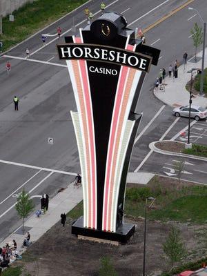 The LED sign for the Horseshoe Casino Cincinnati.