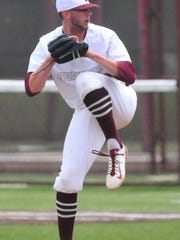 Howie Smith of the Earlham College baseball team pitches against Mount St. Joseph during Earlham's 5-2 win in the Heartland Collegiate Athletic Conference tournament Saturday, May 13, 2017 at Randal R. Sadler Stadium.