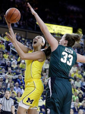 Michigan guard Kysre Gondrezick makes a lay-up over Michigan State center Jenna Allen during the first half of MSU's 86-68 win Sunday, Feb. 19, 2017 in Ann Arbor.