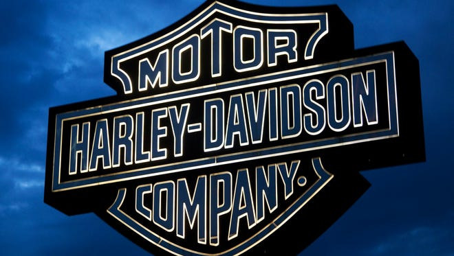 A sign is seen outside a Harley Davidson plant  in Wauwatosa, Wis.