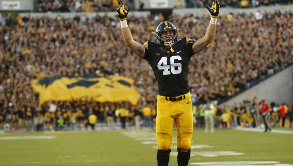 Iowa tight end George Kittle celebrates a touchdown