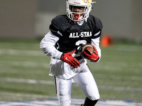 Timothy Hunter, shown here in the 2018 Central Coast High School Football All-Star Game, was a two-sport star for the North Salinas Vikings before coming to Hartnell.