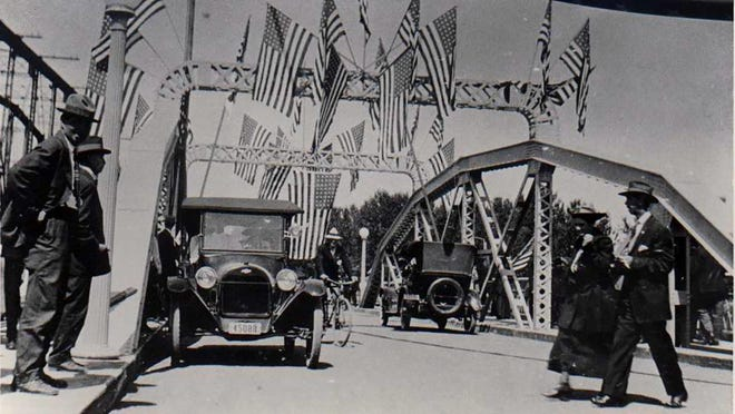 Residents celebrate the opening of the Center Street Bridge in July 1918.