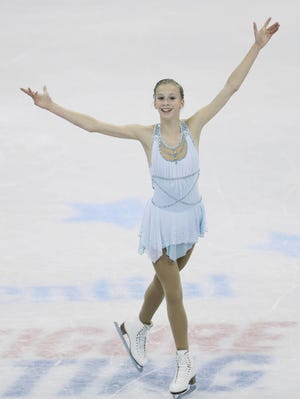 Polina Edmuns performs during the free skate at the TD Garden on Saturday.