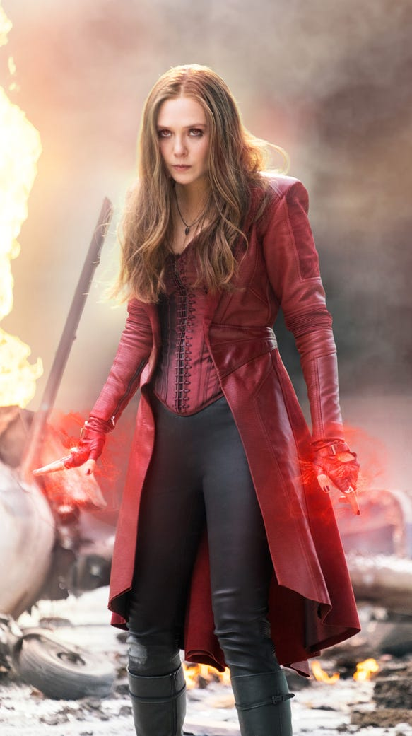 Elizabeth Olsen as Scarlet Witch dons a corset in 'Captain