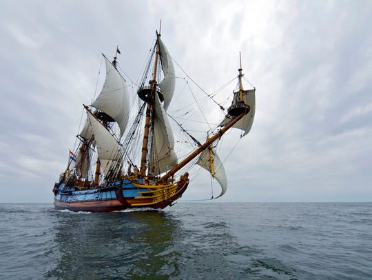 The Kalmar Nyckel is shown. The replica of a vessel