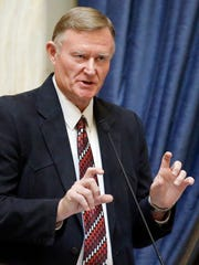 Sen. Evan Vickers, R-Cedar City, speaks on the latest of two competing plans to allow people with certain medical conditions to use marijuana at the Utah State Capitol Friday, Feb. 19, 2016, in Salt Lake City.