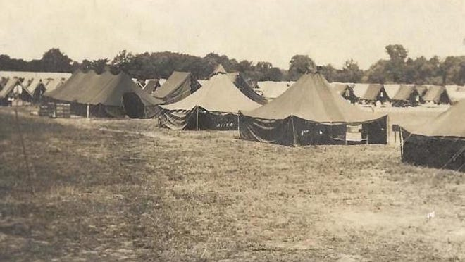 The German POWs held in Blissfield, were housed in tents arranged on rows inside the camp.