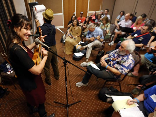 Erin McGrane of Kansas City, Missouri, one part of the duo 'Victor and Penny' during a workshop at the Folk Project's fourth annual ukulele festival at the Ukrainian American Cultural Center. August 27, 2016, Whippany, NJ