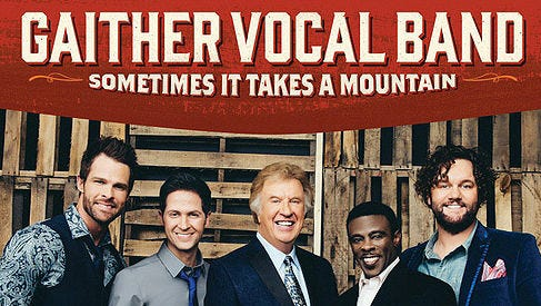 """Todd Suttles, second from right, is featured on the cover of the Gaither Vocal Band's new CD, """"Sometimes It Takes A Mountain,"""" which was released last week."""