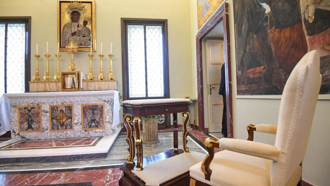 A view of Holy Father's private chapel dedicated to Our Lady of Czestochowa during a preview of the opening to the public of the papal apartment in the Apostolic Palace of Castel Gandolfo organized by the Directorate of the Pontifical Villas and the Management of the Vatican Museums, Castel Gandolfo, near Rome, Italy, 21 October 2016. The papal apartment at the popes' summer residence in Castel Gandolfo in the Alban hills, south of Rome, is to open to the public for the first time ever on 21 October.