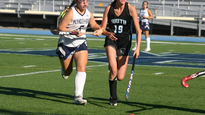 Emma Cicchetti, right, packed many fond memories into four years with Plymouth South's field hockey and softball programs. Contributed photo