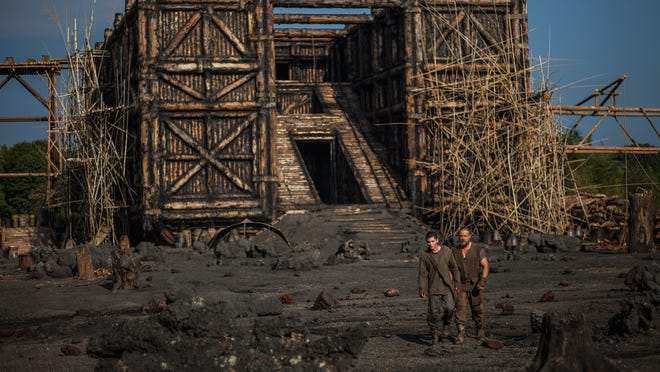 """FILE - This image released by Paramount Pictures shows Logan Lerman, left, and Russell Crowe in a scene from """"Noah."""" After sparking controversy among conservative Christians in the U.S., officials across parts of the Muslim world say they do not expect the Hollywood film Noah will be shown in local theaters because it depicts a prophet and could offend cinemagoers. Director of media content at the National Media Center in the United Arab Emirates, Juma Al-Leem, told The Associated Press on Thursday, March 13, 2014 that the movie will not be allowed in cinemas because it contradicts a generally agreed upon taboo in Islam by depicting a prophet. (AP Photo/Paramount Pictures, Niko Tavernise, File)"""