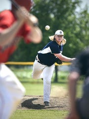Luxemburg pitcher Isaac Matchinsky throws to St. Augusta's Tyson Euerle in the fourth inning Sunday in Luxemburg.