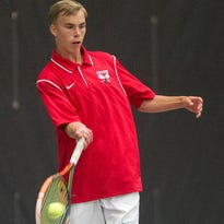 Marshfield's Jacob Limmex returns a serve Wednesday against Rhinelander's Cody Vinger during a Division 1 tennis subsectional at SentryWorld in Stevens Point.