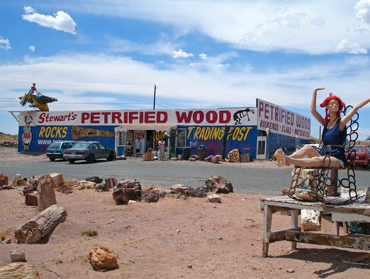 Stewart's Petrified Wood on Historic Route 66 in Holbrook, Ariz., is more like a flea market than a formal store, selling feathers and rocks and ostrich eggs.