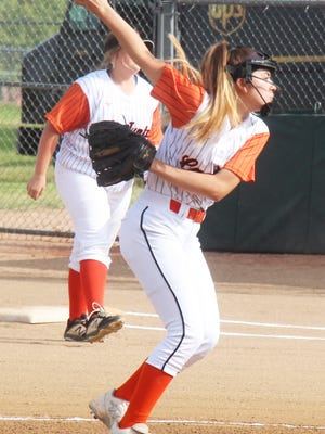 La Junta High School's Madison Wiley send a pitch to the plate in Tuesday's game with Florence at Tippy Martinez Park. Wiley tossed a one-hitter as the Lady Tigers won 12-0.