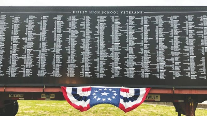 The Ripley High School Alumni Association salutes over 1,000 Viking Veterans on the banner at the corner of Routes 21 and 33 in Ripley.
