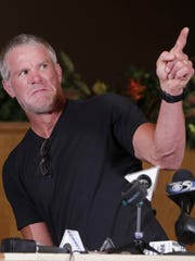 Brett Favre talks to members of the media before the Lee Remmel Sports Awards Banquet on Wednesday, August 9, 2017, at the Swan Club in De Pere, Wis. Adam Wesley/USA TODAY NETWORK-Wisconsin