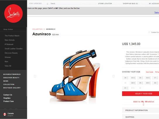 Screenshot of the Azunarico shoe by Christian Louboutin.