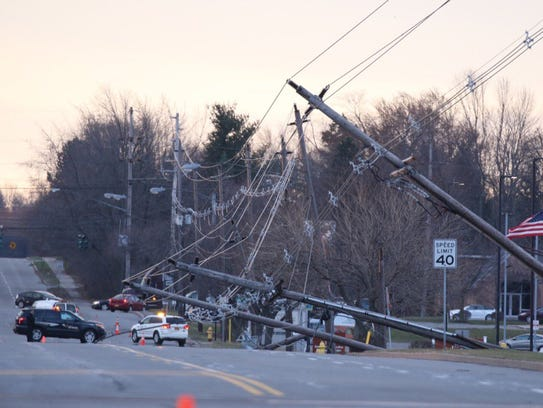 Power lines down after a storm.