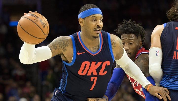 Oklahoma City Thunder forward Carmelo Anthony (7) dribbles