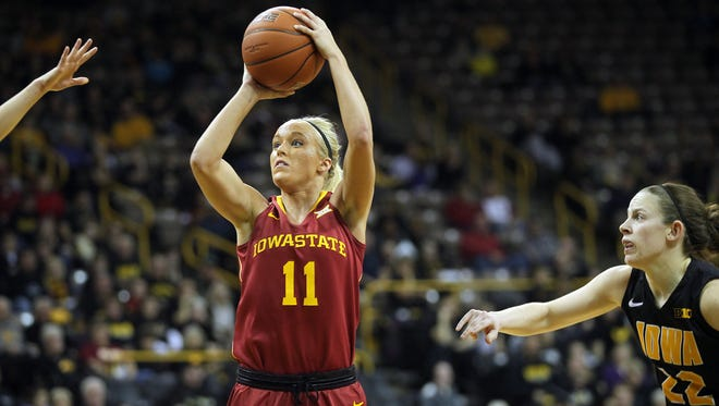 Iowa State's Jadda Buckley takes a shot during the Cyclones' game against Iowa at Carver-Hawkeye Arena on Thursday. Buckley will miss the remainder of the season due to a stress injury.