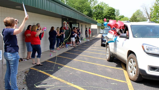 A parade at Hillsdale Preparatory School is a festive occasion Friday afternoon on Mechanic Road in Hillsdale.