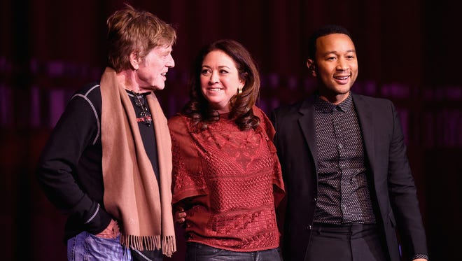 (L-R) Robert Redford, Liz Garbus and John Legend attend Netflix's 'What Happened, Miss Simone' Sundance world premiere with special performance by John Legend on January 22, 2015 in Park City Utah.