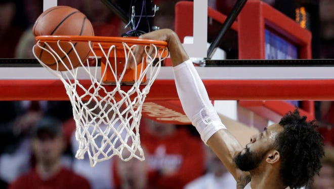 Nebraska's Isaac Copeland dunks during the second half of the team's NCAA college basketball game against Indiana in Lincoln, Neb., Tuesday, Feb. 20, 2018. Nebraska won 66-57.