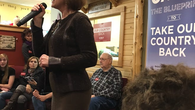 """""""Zero-based budgeting is a fancy term for how you and I budget,"""" Carly Fiorina said Saturday at the Cabin Coffee Co. in Mason City. """"It means you can examine any dollar, you can cut any dollar and you can move any dollar."""""""