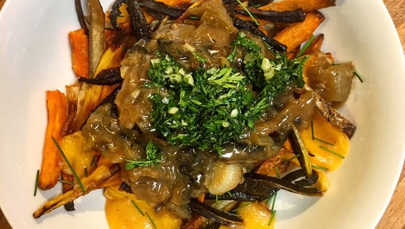 This spin on poutine uses an array of root vegetables