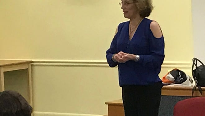 """Therapist Nancy Kislin leads a discussion of the Netflix series, """"13 Reasons Why,"""" at the Millburn Free Public LIbrary on May 1."""